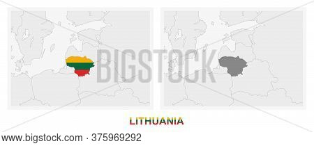 Two Versions Of The Map Of Lithuania, With The Flag Of Lithuania And Highlighted In Dark Grey. Vecto