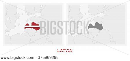 Two Versions Of The Map Of Latvia, With The Flag Of Latvia And Highlighted In Dark Grey. Vector Map.