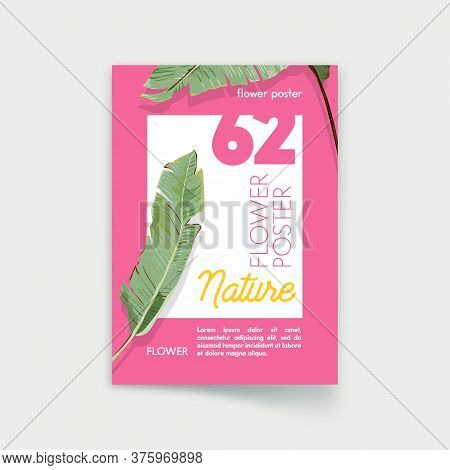 Poster With Palm Leaves. Nature, Exotic Tropical Promo Flyer, Off Promo Card, Stationary Company Bra