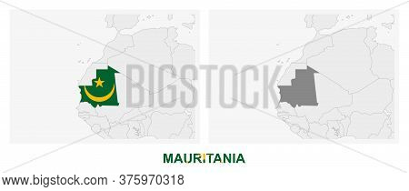Two Versions Of The Map Of Mauritania, With The Flag Of Mauritania And Highlighted In Dark Grey. Vec