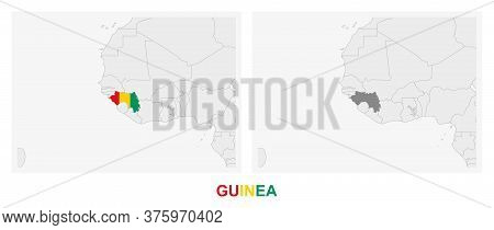 Two Versions Of The Map Of Guinea, With The Flag Of Guinea And Highlighted In Dark Grey. Vector Map.