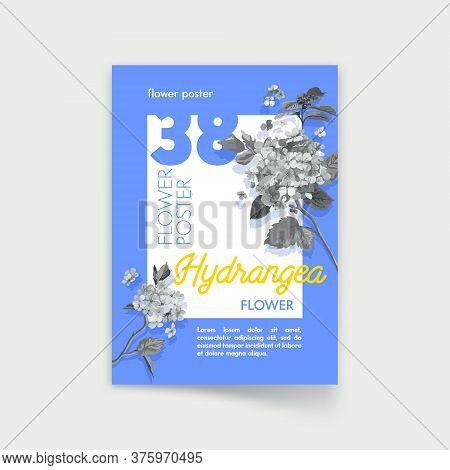 Poster Design With Monochrome Hydrangea Flowers On Blue Background. Wedding Decoration. Nature, Orga