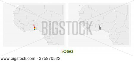 Two Versions Of The Map Of Togo, With The Flag Of Togo And Highlighted In Dark Grey. Vector Map.