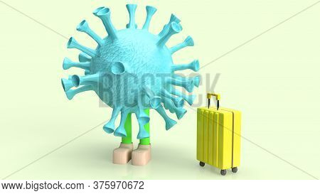 A Coronavirus And Suite Case For Travel Content 3d Rendering