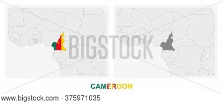 Two Versions Of The Map Of Cameroon, With The Flag Of Cameroon And Highlighted In Dark Grey. Vector