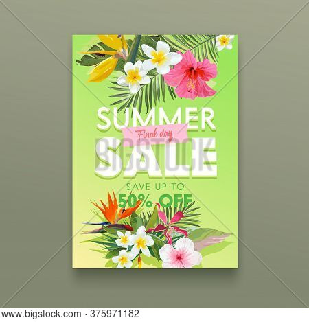 Summer Sale Banner With Tropical Flowers Plumeria, Hibiscus And Strelitzia With Palm Leaves, Floral