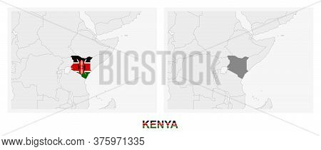 Two Versions Of The Map Of Kenya, With The Flag Of Kenya And Highlighted In Dark Grey. Vector Map.