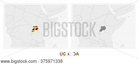 Two Versions Of The Map Of Uganda, With The Flag Of Uganda And Highlighted In Dark Grey. Vector Map.
