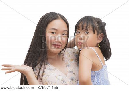 Happy Asian Family Woman With Little Child Smiling And Fun And  In Love For Family In The White Back
