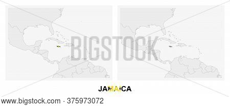 Two Versions Of The Map Of Jamaica, With The Flag Of Jamaica And Highlighted In Dark Grey. Vector Ma