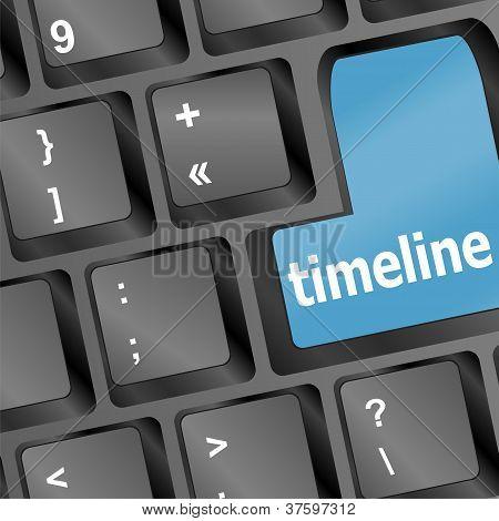 Timeline Concept - Word Timeline On Keyboard