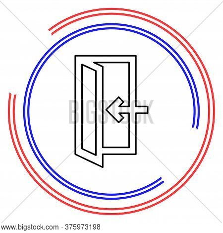 Emergency Exit Sign, Exit Door Icon, Exit Strategy - Door Entrance. Thin Line Pictogram - Outline Ed