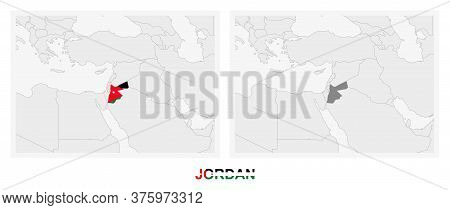 Two Versions Of The Map Of Jordan, With The Flag Of Jordan And Highlighted In Dark Grey. Vector Map.