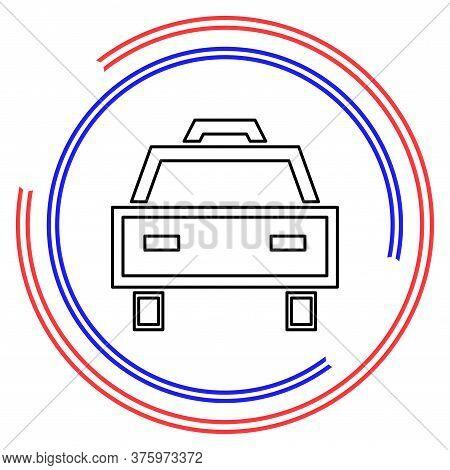 Taxi Icon, Taxi Icon Vector, Taxi. Vector Illustration. Thin Line Pictogram - Outline Editable Strok