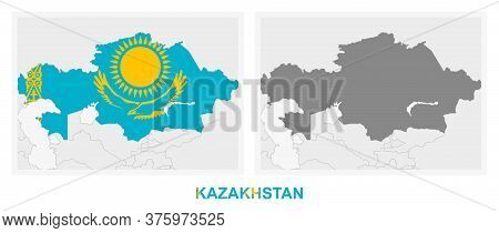 Two Versions Of The Map Of Kazakhstan, With The Flag Of Kazakhstan And Highlighted In Dark Grey. Vec
