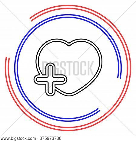 Add Lover Symbol - Flat Vector Icon - Add Heart. Thin Line Pictogram - Outline Editable Stroke