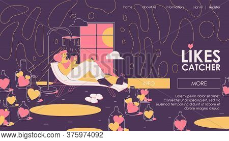 Vector Concept Scene With Woman Reading Book In Room Full Of Hearts Or Likes. Educative Banner About