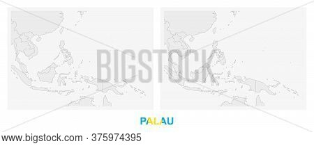 Two Versions Of The Map Of Palau, With The Flag Of Palau And Highlighted In Dark Grey. Vector Map.