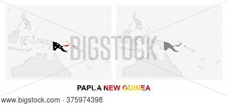 Two Versions Of The Map Of Papua New Guinea, With The Flag Of Papua New Guinea And Highlighted In Da