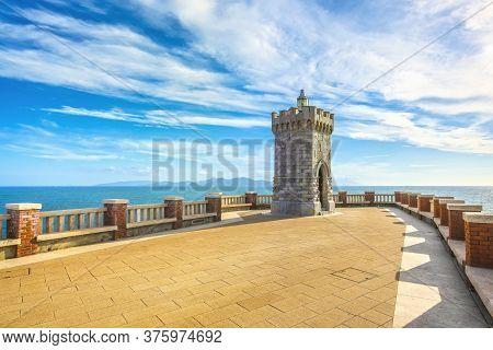 View Of Piombino Piazza Bovio Lighthouse And Elba Island. Maremma Tuscany Italy