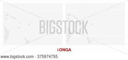 Two Versions Of The Map Of Tonga, With The Flag Of Tonga And Highlighted In Dark Grey. Vector Map.