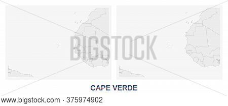 Two Versions Of The Map Of Cape Verde, With The Flag Of Cape Verde And Highlighted In Dark Grey. Vec