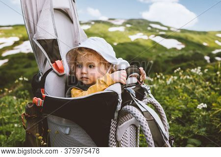 Child Girl In Backpack Carrier Hiking In Mountains Travel Family Vacation Summer Activity Healthy Li