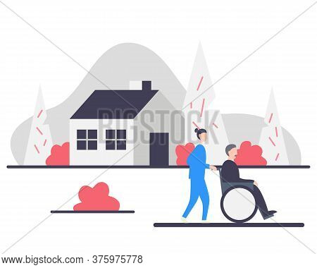 Senior Man In Wheelchair With Nurse In A Park Near The House. Assisted Living Concept Vector Illustr