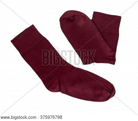 Cotton Dark Red Socks Isolated On A White Background. Summer Accessories.socks Top View