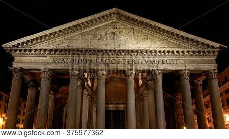 Night View Of Hte Famous Pantheon In Rome, Dated Back To The 2nd Century Ad