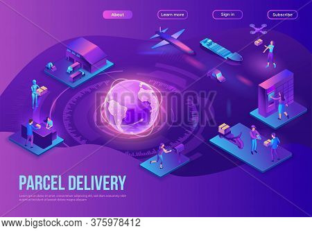 Global Delivery Service Landing Page, Illustration With A Process Of Delivering Parcel, Warehouse Wi