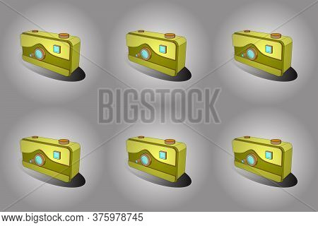 Raster Illustration. Tracery In Gray, White And Yellow Colors. Camera In Trendy 3d Style Isolated On