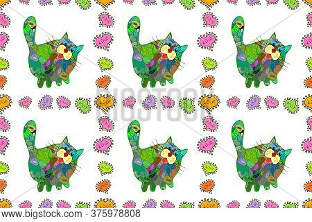 Sketch Texture. Template For Print Design. Fashion Fabric Design. Raster. Color In The Image: Green,