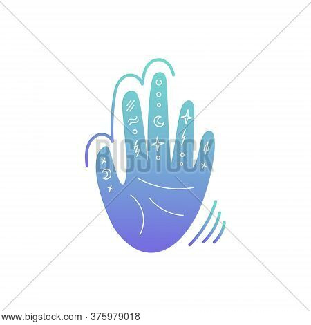 Illustration On The Theme Of Palmistry. The Hand With The Signs, The Moon And The Stars. Vector Illu