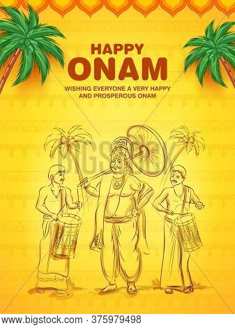 King Mahabali In Onam Traditional Festival Background Showing Culture Of Kerala, South India