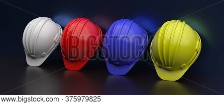 Hard Hats Various Colors On Gray Wall Background. 3D Illustration