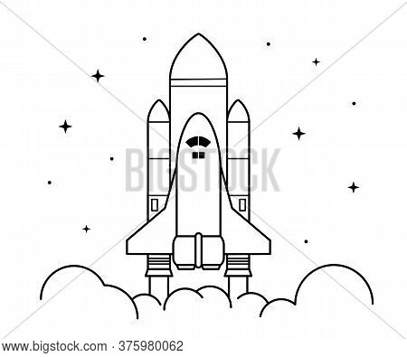 Space Rocket Launch. Technology Spaceship, Science And Shuttle. Symbol Of Successful Start. Vector I