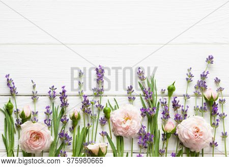Lavender And Pink Roses Flat Lay,  Mock Up, Provence Template, Lavender Template For Greeting Cards