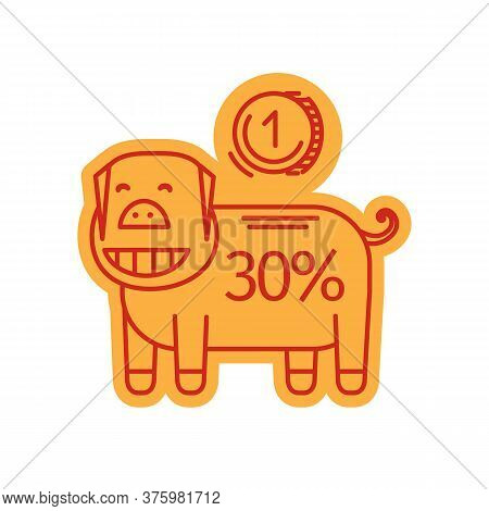 Piggy Bank Lineart Icon. Vector Illustration Of Cartoon Pig With Coin And 30 Percent Sale. Promo Ban