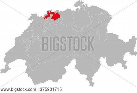 Basel-landschaft Canton Isolated On Switzerland Map. Gray Background. Backgrounds And Wallpapers.