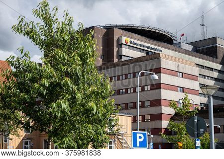Lund, Sweden - July 9, 2020: The Main Building Of The Scania University Hospital Area. The Helicopte