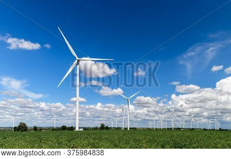 Windmills For Electric Power Production In  Cassava Field On Blue Sky At Huai Bong, Dan Khun Thot Di