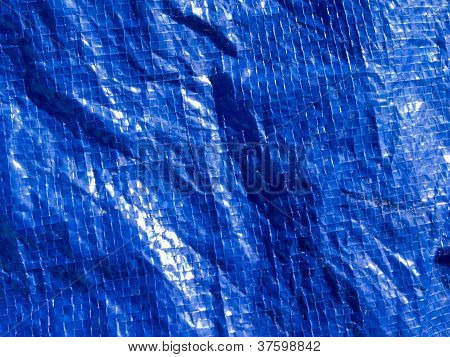 Blue woven plastic tarp background texture pattern
