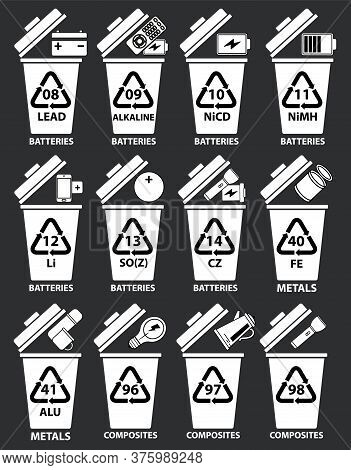 Recycling Codes For Batteries, Metal, Composites. Recycling Bins Illustration With Batteries, Tv Rem