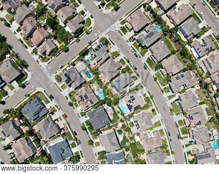 Aerial View Of Suburban Neighborhood With Big Mansions In San Diego, California, Usa. Aerial View Of