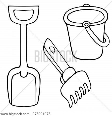 Bucket, Spade And Rake. Sketch. Set Of Vector Illustrations. Outline On An Isolated White Background