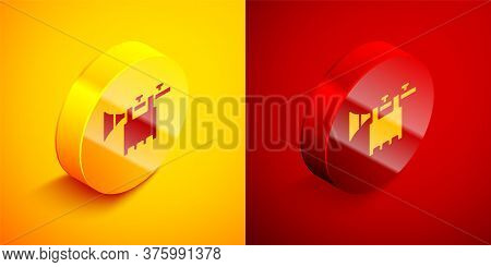 Isometric Trumpet With Flag Icon Isolated On Orange And Red Background. Musical Instrument Trumpet.