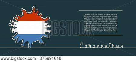 Abstract Virus Silhouette And Coronavirus Text In Thin Line Style. Coronavirus Virus Danger Relative