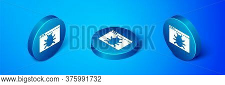 Isometric System Bug Concept Icon Isolated On Blue Background. Code Bug Concept. Bug In The System.