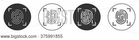 Black Fingerprint Icon Isolated On White Background. Id App Icon. Identification Sign. Touch Id. Cir